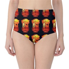 Paper Lanterns Pattern Background In Fiery Orange With A Black Background High-Waist Bikini Bottoms