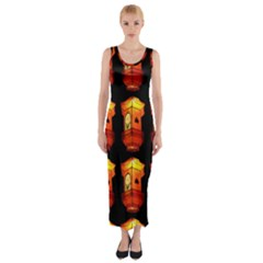 Paper Lanterns Pattern Background In Fiery Orange With A Black Background Fitted Maxi Dress