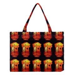 Paper Lanterns Pattern Background In Fiery Orange With A Black Background Medium Tote Bag