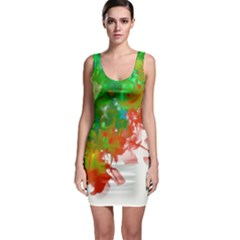 Digitally Painted Messy Paint Background Texture Sleeveless Bodycon Dress