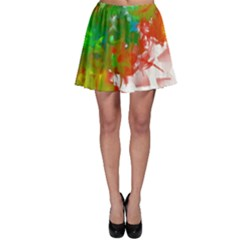 Digitally Painted Messy Paint Background Texture Skater Skirt