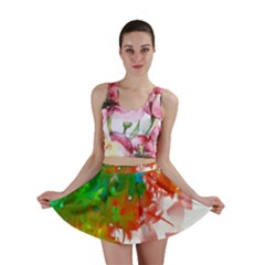 Digitally Painted Messy Paint Background Texture Mini Skirt