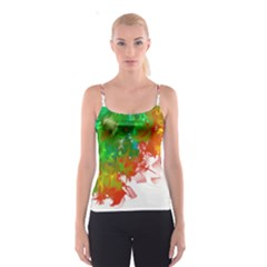 Digitally Painted Messy Paint Background Texture Spaghetti Strap Top