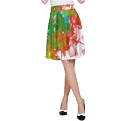 Digitally Painted Messy Paint Background Texture A-Line Skirt
