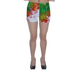 Digitally Painted Messy Paint Background Texture Skinny Shorts