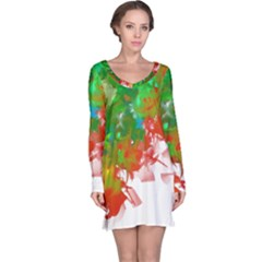 Digitally Painted Messy Paint Background Texture Long Sleeve Nightdress