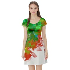 Digitally Painted Messy Paint Background Texture Short Sleeve Skater Dress