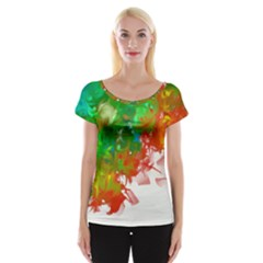 Digitally Painted Messy Paint Background Texture Women s Cap Sleeve Top