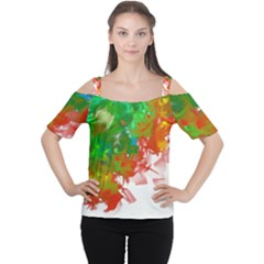 Digitally Painted Messy Paint Background Texture Women s Cutout Shoulder Tee