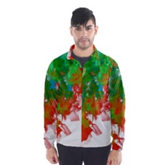 Digitally Painted Messy Paint Background Texture Wind Breaker (men)