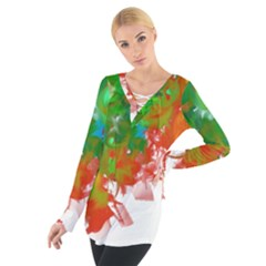 Digitally Painted Messy Paint Background Texture Women s Tie Up Tee
