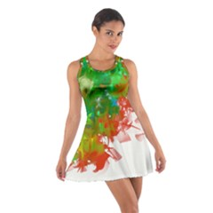 Digitally Painted Messy Paint Background Texture Cotton Racerback Dress