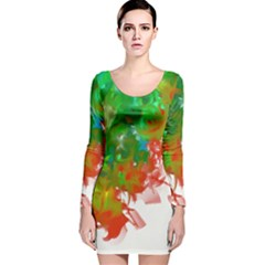Digitally Painted Messy Paint Background Texture Long Sleeve Velvet Bodycon Dress
