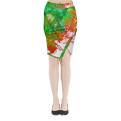 Digitally Painted Messy Paint Background Texture Midi Wrap Pencil Skirt