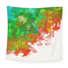 Digitally Painted Messy Paint Background Texture Square Tapestry (large)