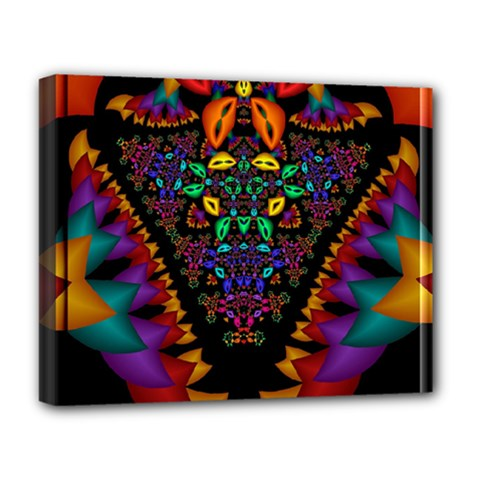 Symmetric Fractal Image In 3d Glass Frame Deluxe Canvas 20  X 16