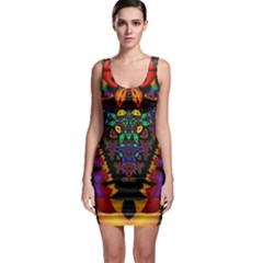 Symmetric Fractal Image In 3d Glass Frame Sleeveless Bodycon Dress