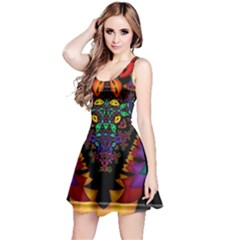 Symmetric Fractal Image In 3d Glass Frame Reversible Sleeveless Dress