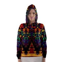 Symmetric Fractal Image In 3d Glass Frame Hooded Wind Breaker (women)