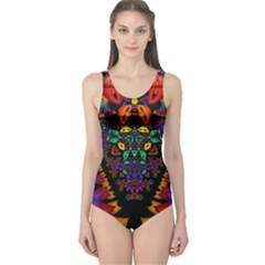 Symmetric Fractal Image In 3d Glass Frame One Piece Swimsuit
