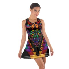 Symmetric Fractal Image In 3d Glass Frame Cotton Racerback Dress