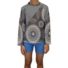 Abstract Mandala Background Pattern Kids  Long Sleeve Swimwear