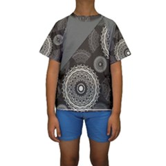 Abstract Mandala Background Pattern Kids  Short Sleeve Swimwear