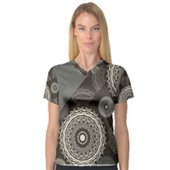 Abstract Mandala Background Pattern Women s V Neck Sport Mesh Tee