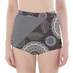 Abstract Mandala Background Pattern High-Waisted Bikini Bottoms