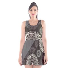 Abstract Mandala Background Pattern Scoop Neck Skater Dress