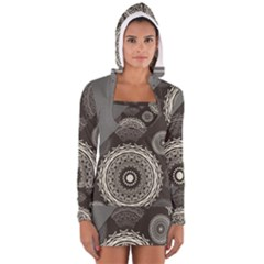 Abstract Mandala Background Pattern Women s Long Sleeve Hooded T Shirt