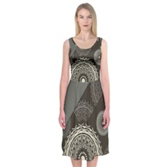 Abstract Mandala Background Pattern Midi Sleeveless Dress