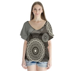 Abstract Mandala Background Pattern Flutter Sleeve Top