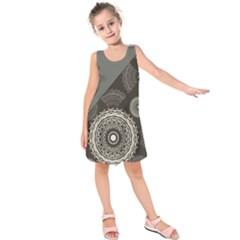 Abstract Mandala Background Pattern Kids  Sleeveless Dress