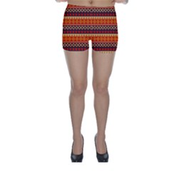 Abstract Lines Seamless Pattern Skinny Shorts