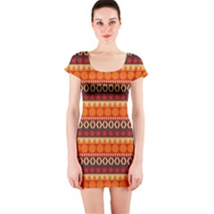 Abstract Lines Seamless Pattern Short Sleeve Bodycon Dress