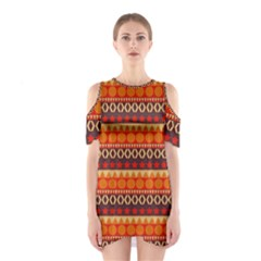 Abstract Lines Seamless Pattern Shoulder Cutout One Piece