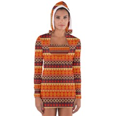Abstract Lines Seamless Pattern Women s Long Sleeve Hooded T Shirt