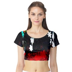 Grunge Abstract In Dark Short Sleeve Crop Top (Tight Fit)