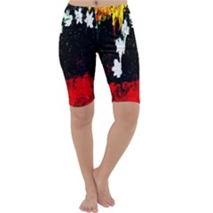 Grunge Abstract In Dark Cropped Leggings