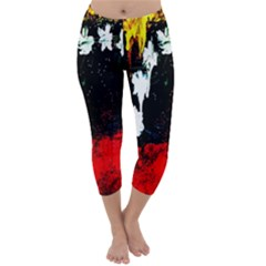 Grunge Abstract In Dark Capri Winter Leggings