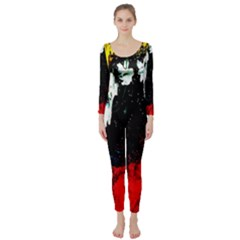 Grunge Abstract In Dark Long Sleeve Catsuit
