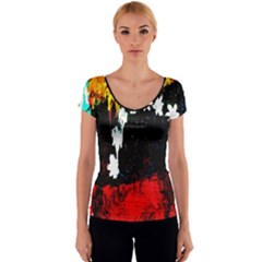 Grunge Abstract In Dark Women s V-Neck Cap Sleeve Top
