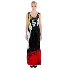 Grunge Abstract In Dark Maxi Thigh Split Dress