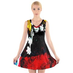 Grunge Abstract In Dark V-Neck Sleeveless Skater Dress