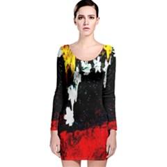 Grunge Abstract In Dark Long Sleeve Velvet Bodycon Dress