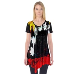 Grunge Abstract In Dark Short Sleeve Tunic
