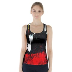 Grunge Abstract In Dark Racer Back Sports Top