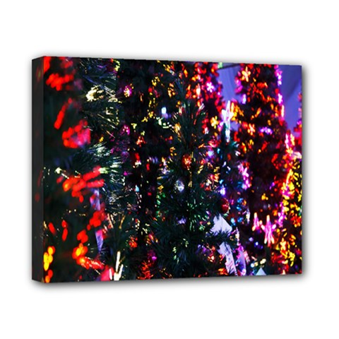 Lit Christmas Trees Prelit Creating A Colorful Pattern Canvas 10  X 8