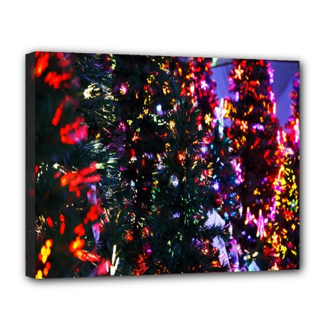 Lit Christmas Trees Prelit Creating A Colorful Pattern Canvas 14  X 11